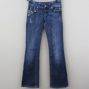 MISS ME Embellished Stretch Boot Cut Jeans 25 H191